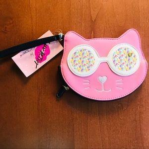 ⭐️ 2/$35 Betsey Johnson Pink Cat Glasses Wristlet